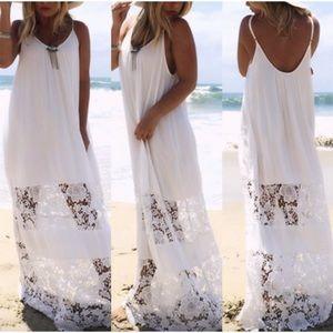 BOHO LACE MAXI BEACH DRESS COVER-UP WHITE S & M